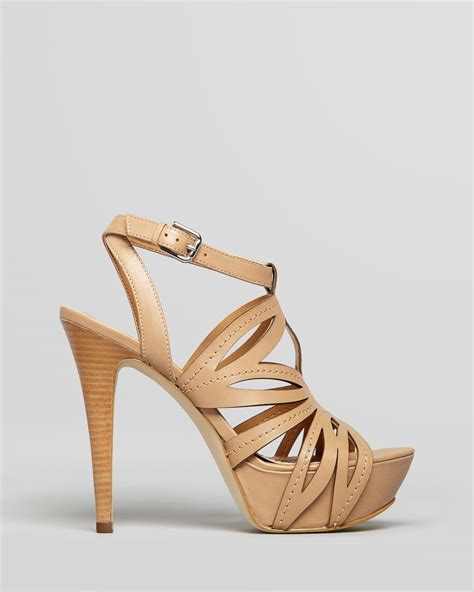 high heels guess guess sandals oliane cut out with high heel in brown lyst