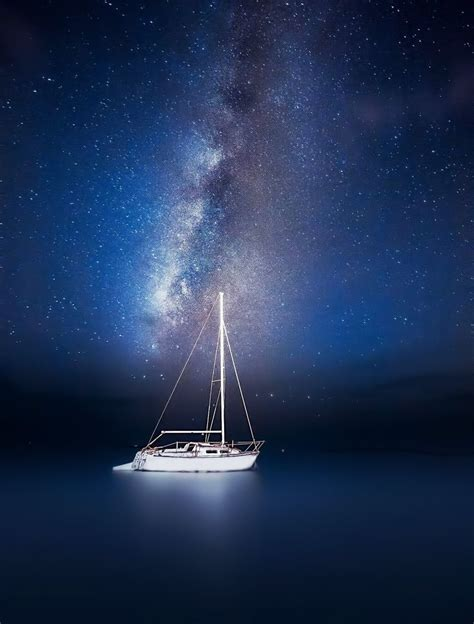sailboat at night photo i took of the milky way and a sailboat starry