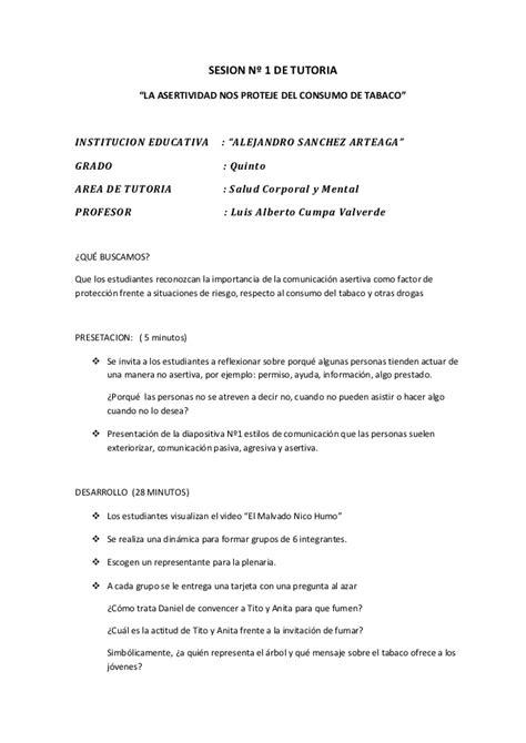 sesion de tutoria la asertividad documents sesion n 186 1 de tutoria