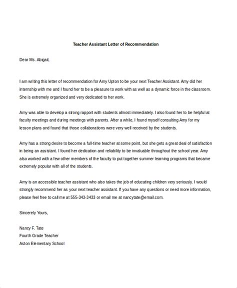 Recommendation Letter Assistant Sle Letters Of Recommendation 6 Free Documents In Pdf Doc