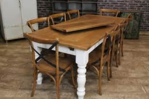 Farmers Kitchen Table Extending Farmhouse Table With An Oak Top And A Painted Base Rustic