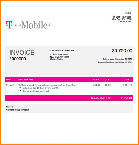 7 t mobile bill template simple bill