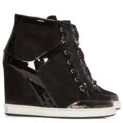 Jimmy choo panama black wedge trainers cricket fashion boutique uk