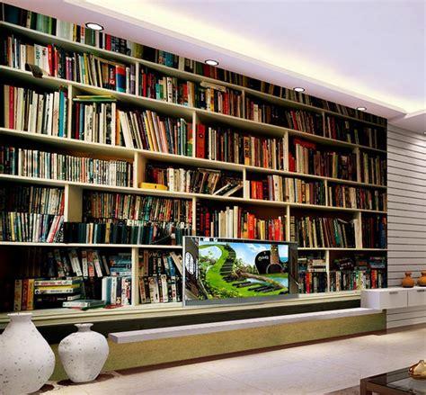 Rak Toko Buku gambar 3d mural dinding hd ruangan rak buku wallpaper
