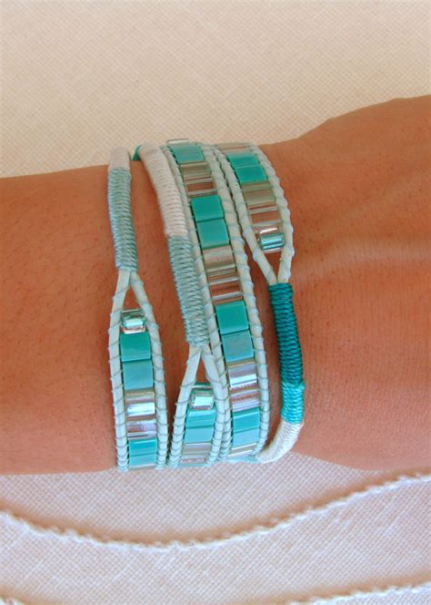 Flat Macrame Bracelet - macrame and beaded wrap bracelet in teal with pistachio