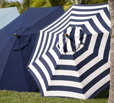 Pottery Barn Patio Umbrella Sunbrella Umbrella Awning Stripe Navy Traditional Outdoor Umbrellas By Pottery Barn