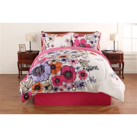 Hometrends Watercolor Floral Bed In A Bag Bedding Set Walmart Bed Sets