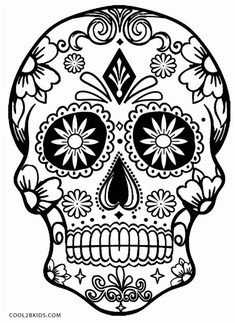sugar skull coloring page pdf printable skulls coloring pages for kids cool2bkids