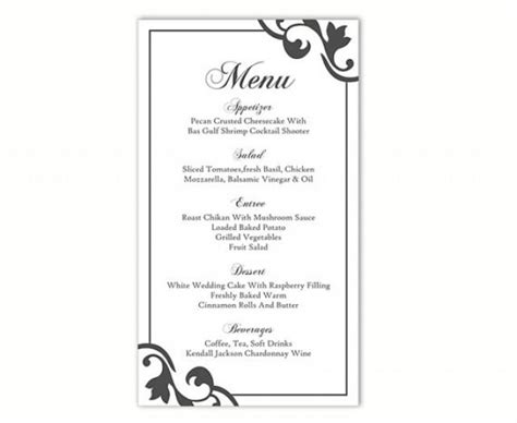 printable menu cards templates wedding menu template diy menu card template editable text
