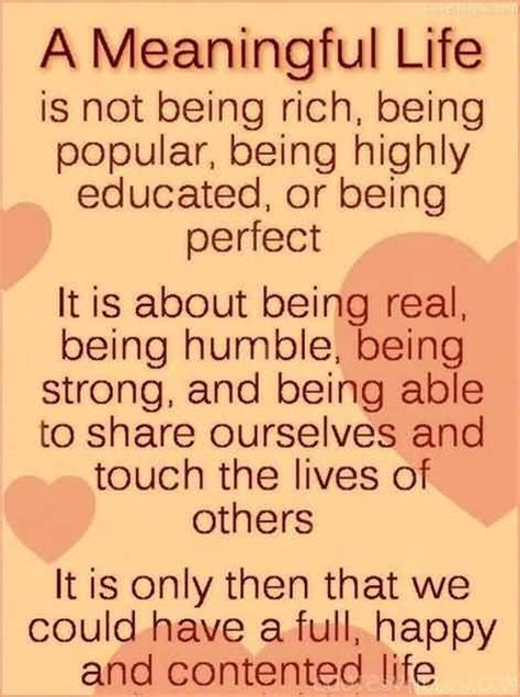 being and being bought a meaningful life is not being rich being popular being highly educated or being perfect