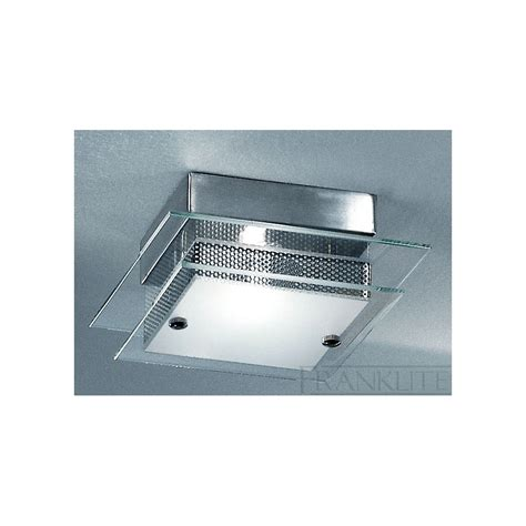 cf1247 square flush ceiling light satin nickel and clear