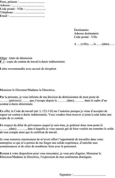 Mod Les De Lettre De D Mission Avec Pr Avis mod 232 le de lettre de d 233 mission dans le cadre d un contrat 224