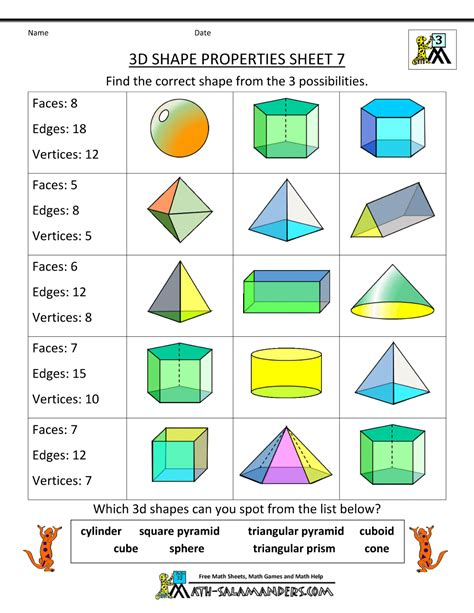 2d And 3d Shapes Worksheet by Free Printable Geometry Worksheets 3rd Grade