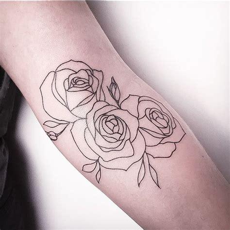 outline three rose flowers tattoo on arm sleeve