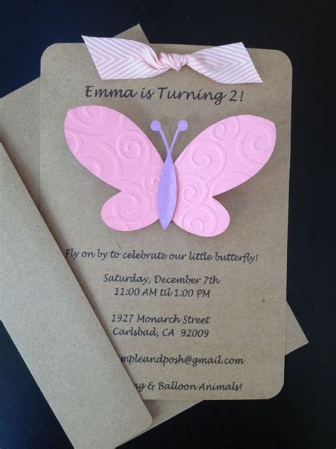 Custom Handmade Invitations - butterfly invitations custom made and handmade for kid s