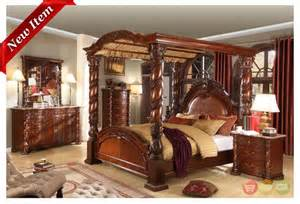 Four Poster Canopy Bedroom Sets Castillo De Cullera Cherry Size Canopy Bedroom Set Traditional Cherries And Bedroom Sets