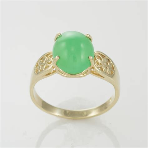Green Chrysoprase Ring 15 14k yellow gold 4 50ct 12 x 10mm apple green chrysoprase ring size 11 tangible