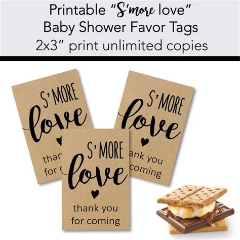 printable love gift tags printable kraft s more love baby shower favor tags print