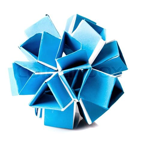 Origami White - blue origami snapology isolated on white background