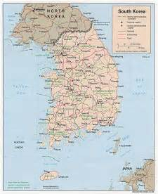 large detailed road and administrative map of south korea