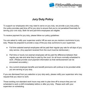 jury duty: how to accommodate it & free sample policy