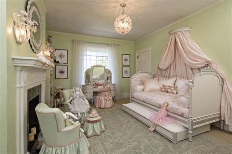 princess themed bedrooms sage green wall color with traditional white fireplace for