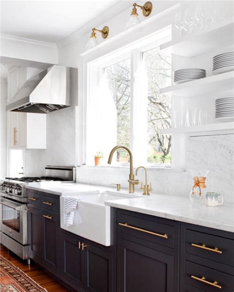 white kitchen cabinets with brass hardware and black color combinations black whitebecki owens