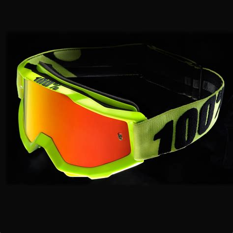 Goggle Snail Yellow Fluo 100 accuri goggle anti fog mirror lens brille 2018 fluo yellow bike24
