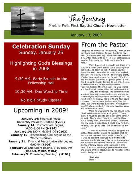 church newsletter sels marble falls first baptist