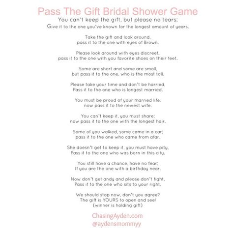 printable bridal shower poems pass the gift bridal shower game free printable http