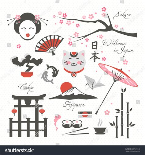 China Asia Symbols Culture Luck Collection Stock Vector