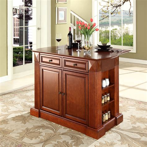 kitchen bar furniture drop leaf breakfast bar top kitchen island in classic cherry finish crosley furniture