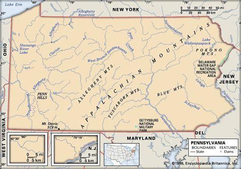pennsylvania physical map pennsylvania physical features encyclopedia