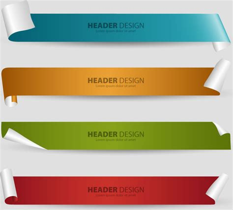 desain header dan footer header design sets with 3d curled sheet background vector