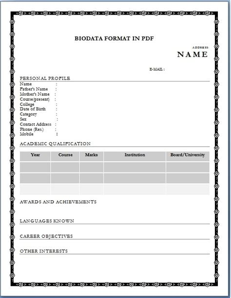 biodata format empty biodata format for job application download sle