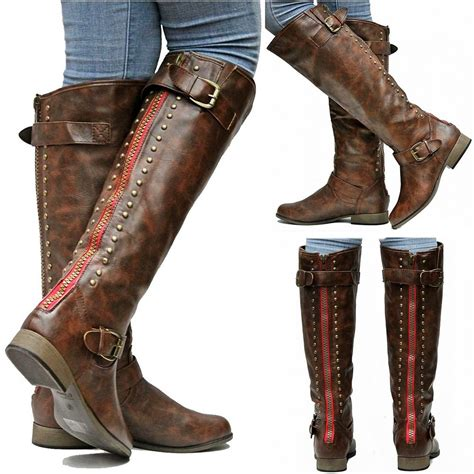 Zipped Bootie new womens fl42 brown zipper studded knee high
