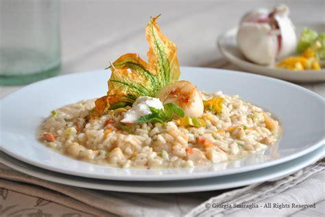 cuochella risotto con capesante e fiori di zucca