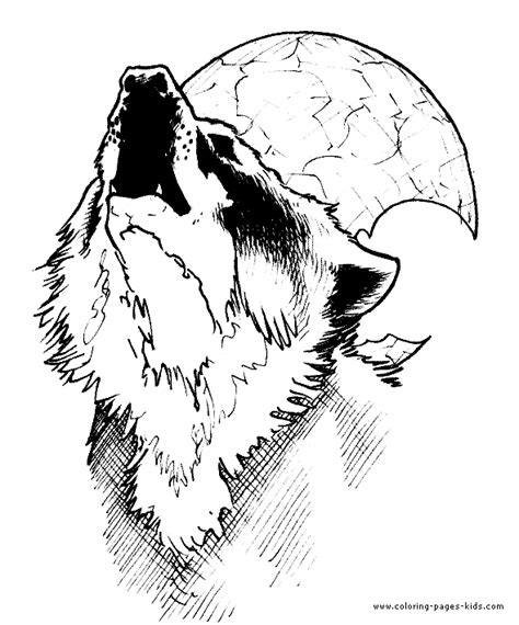 wolf howling at the moon color page