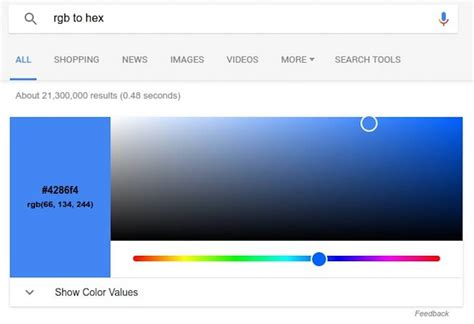 hex color converter now has rgb to hex color converter on search