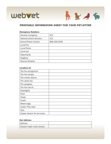 pet information printable information sheet for your pet sitter emergency numbers stuff