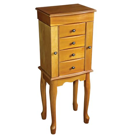 jewelry armoire oak finish mele co celina wooden jewelry armoire in oak finish