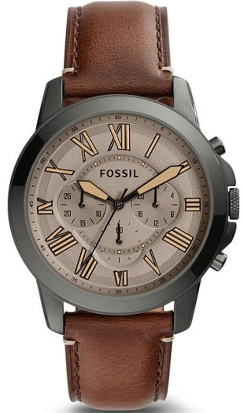 Fossil Fs Brown Leather Original s fossil grant chronograph brown leather