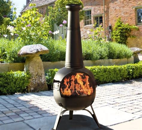 Chiminea On Patio Chiminea Patio Heater And Grill By Oxford Barbecues
