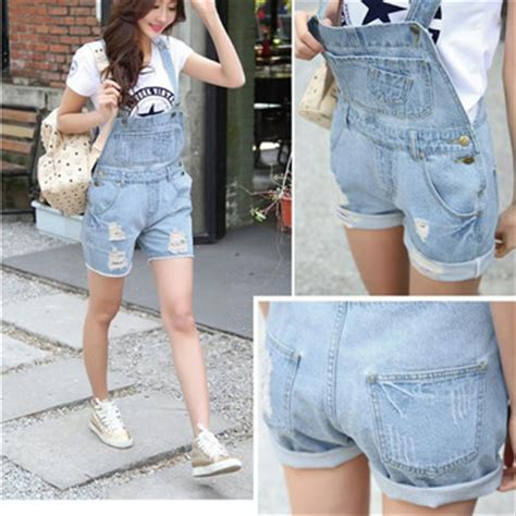 Ralley Denim Overall Romper washed ripped denim overalls with pockets tore