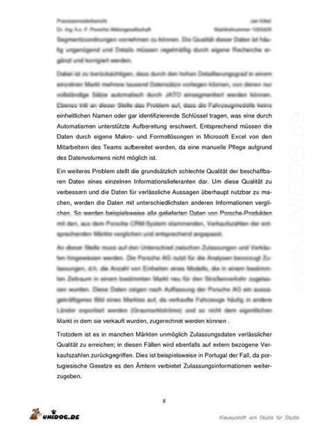 Praktikum Fazit Vorlage Unidog Praxisphasenbericht Porsche Ag