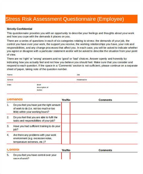 printable stress assessment questionnaire 35 assessment questionnaire exles