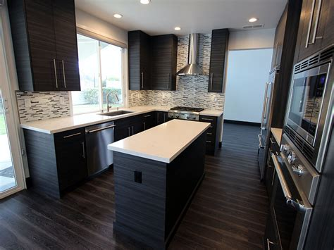 san clemente gray white u shaped modern kitchen remodel with line cabinets