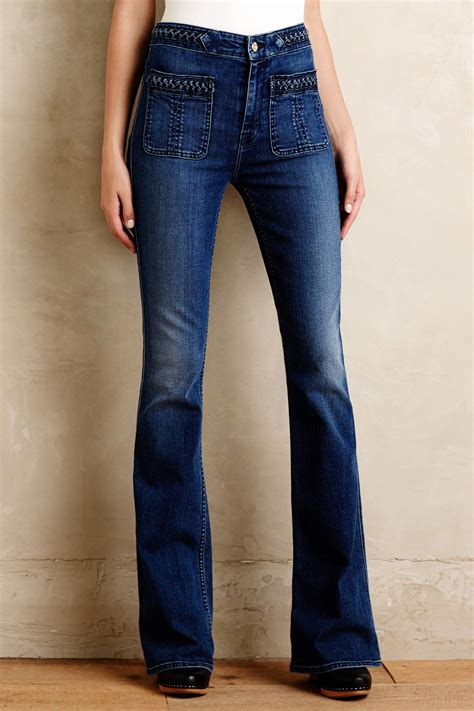 Rise All Poket lyst 7 for all mankind braided high rise flare in blue