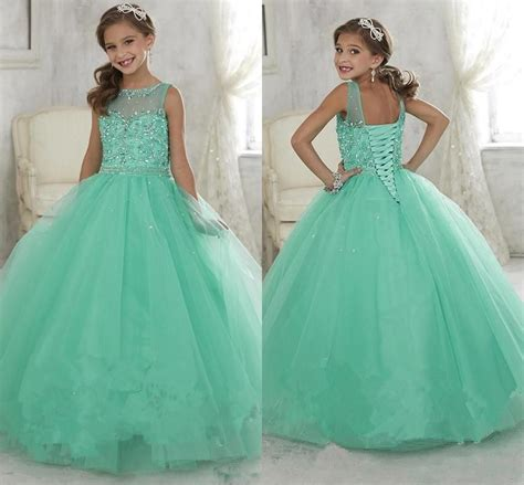 2017 mint green pageant dresses tulle sheer crew neck beaded crystals corset