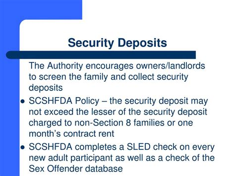does section 8 pay security deposit ppt south carolina state housing finance and development